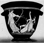 Artemis striking down Actaeon