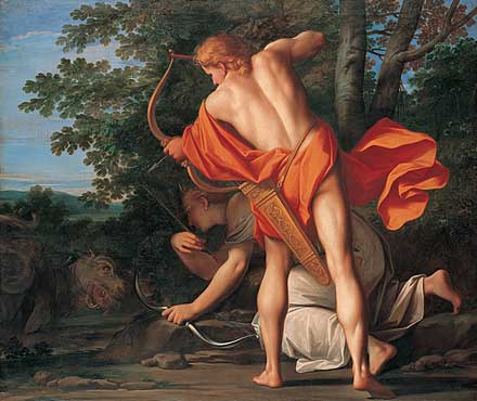 Apollo and Diana kill Python, by Marcantonio Franceschini
