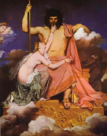 Zeus and Thetis on Mount Olympus, by Jean-Auguste-Dominique Ingres