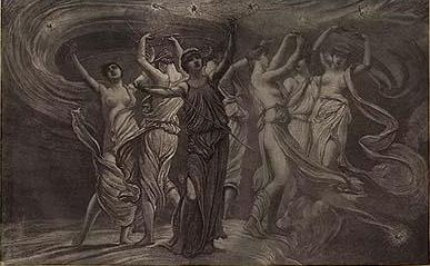 F. E. Fillebrown engraving of The Dance of the Pleiades, by Elihu Vedder